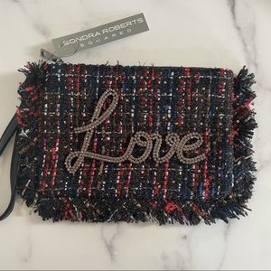 Sondra Roberts Squared Plaid Love Wristlet Bag